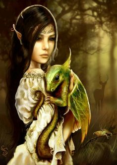 """I am loving all the """"girl and her dragon"""" art that I have been seeing lately."""