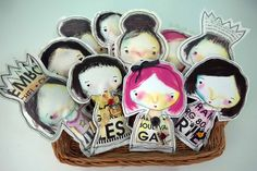 Stuffed Canvas Dolls by Guest Artist Connie Fong.  These would be cute as embellishment to a tag/card!