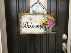 Mason jar decor Mason jar welcome sign Welcome by RustiqueSigns