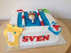 Zwemdiploma taart / Pool cake Disney Cakes, Childrens Party, Fondant, Cupcakes, Party Ideas, Cookies, Drink, Desserts, Kids
