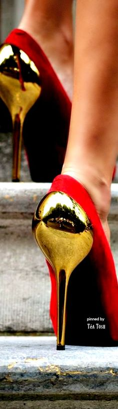 ❈Téa Tosh❈. red pumps with gold heels. women's fashion and street style.