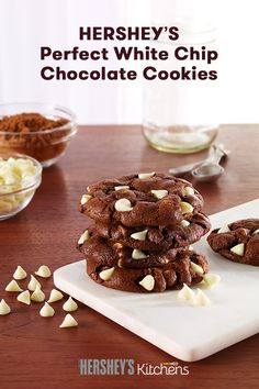 Enjoy a twist on a classic treat with Hershey's Perfect White Chip Chocolate Cookies recipe! These cookies featuring HERSHEY'S Cocoa and HERSHEY'S Kitchens Premier White Chips  are a favorite in every cookie jar. Perfect chocolate cookies for a snowy winter day!