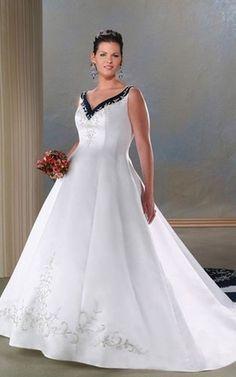 Keine Taille gesticktes ärmellos formelles Brautkleid für Übergröße aus Satin