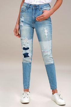 Cleo Light Wash Two-Tone Distressed Skinny Jeans 2 Patched Jeans, Denim Jeans, Two Toned Jeans, Light Wash Jeans, Cute Jeans, Distressed Skinny Jeans, Skinny Pants, Stretch Denim, Blue Denim