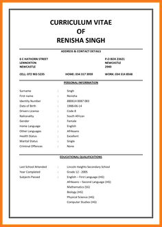 2 Page Cv Template South Africa Resume Examples