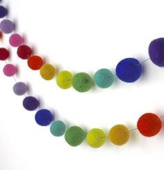 felt ball garland rainbow by littlenestbox | notonthehighstreet.com