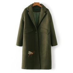 Army Green Bee Embroidery Single Button Coat (525 GTQ) ❤ liked on Polyvore featuring outerwear, coats, embroidered coat, green coat, green military coat, olive green coat and olive coat