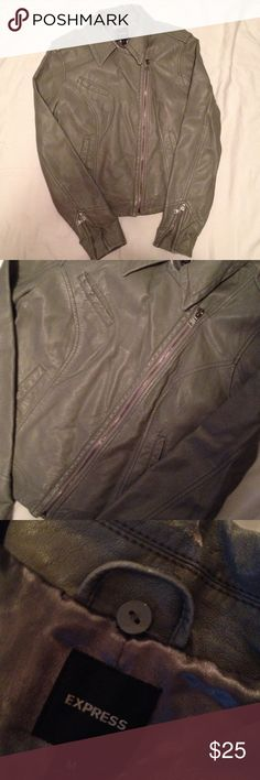 Gray leather express jacket Slightly worn (see photos) but prove reflects this.  Not noticeable.  Super warm and cozy.  I'm moving which is why I'm looking to part with it. Express Jackets & Coats