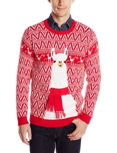 Blizzard Bay Mens Festive Llama Ugly Christmas Sweater Red White Large At Amazon Mens Clothing Store