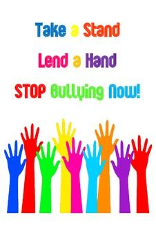 Take-a-Stand-Lend-a-Hand-Poster - use whole class with larger letters for banner Anti Bullying Week, Anti Bullying Activities, Anti Bullying Campaign, Stop Bullying Posters, Stop Bullying Now, Anti Bully Quotes, Student Council Campaign, Bullet Journal Banner, Red Ribbon Week