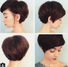 "How to style the Pixie cut? Despite what we think of short cuts , it is possible to play with his hair and to style his Pixie cut as he pleases. For a hairstyle with a ""so chic"" and pointed… Continue Reading → Longer Pixie Haircut, Crop Haircut, Short Pixie Haircuts, Pixie Hairstyles, Pretty Hairstyles, Short Cropped Hairstyles, Long Pixie Bob, Layered Hairstyle, Haircut Short"