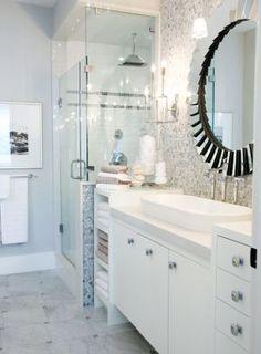 Suzie: Sarah Richardson Design - Chic, modern blue & gray bathroom design with round beveled . Bad Inspiration, Decoration Inspiration, Bathroom Inspiration, Decor Ideas, Bathroom Renos, Small Bathroom, Master Bathroom, Bathroom Ideas, Basement Bathroom