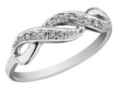 Infinity Diamond Promise Ring in 10K White Gold, Size 6 - http://www.wonderfulworldofjewelry.com/jewelry/wedding-anniversary/promise-rings/infinity-diamond-promise-ring-in-10k-white-gold-size-6-com/ - Your First Choice for Jewelry and Jewellery Accessories