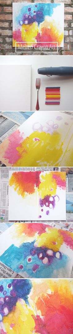 diy melted crayon abstract art