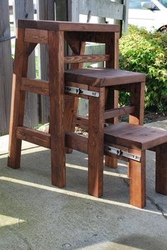Kitchen step stool made of wood. Very clever!