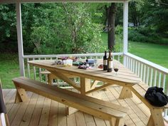 picnic table ideas Great Ocean View Summer Cottage Rental with Boat Mooring on Great Diamond Island - Great Diamond Island Backyard Projects, Outdoor Projects, Table Camping, Patio Bench, Balcony Bench, Deck Table, Deck Bench Seating, Front Porch Bench, Porch Table