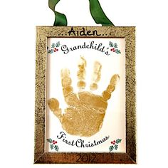 Handprint Christmas Ornament | Handprint Ornament Grandchild's First Christmas Keepsake Ornament ...