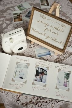 guest take polaroid and put in book with a wish. Guest book… guest take polaroid and put in book with a wish. Polaroid wedding … Guest book… guest take polaroid and put in book with a wish. Trendy Wedding, Unique Weddings, Perfect Wedding, Fall Wedding, Rustic Wedding, Dream Wedding, Wedding Book, Guest Book Ideas For Wedding, Vintage Weddings
