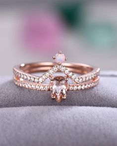 14k Rose Gold Over 3ct Pear Cut Morganite Opal Engagement Band Bridal Set Rings Engagement & Wedding