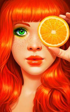 арт девушка,красивые картинки,art,арт,рыжая няша,апельсин,баян