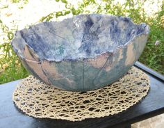 Large ceramic bowl figs and grapeleaves decoration by yaelastudio, $85.00