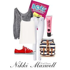 Nikki Maxwell--Dork Diaries by twixryleigh on Polyvore featuring Equipment, Juicy Couture, Converse, Monsoon and Monki
