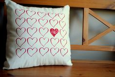 Valentines day Red Hearts pillow cover with couples by HCJDesigns, $38.00
