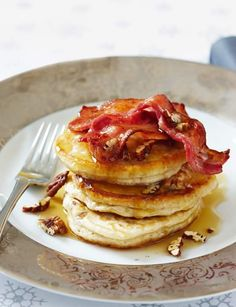 As a staple brunch item, pancakes are the ultimate base for a salty sweet combo - try this banana pecan pancake recipe with crispy bacon to hit your sweet & savoury spots...