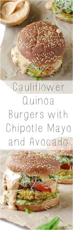 Cauliflower Quinoa Burgers with Chipotle Mayo and Avocado