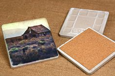 decopauge tile coasters--put pads on bottom so they don't scratch tables, use scrapbooking paper and put letters/words/etc!