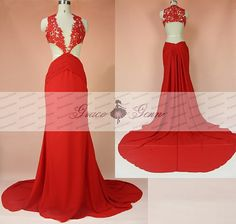 Sexy Red Prom DressesLace Applique Prom Gown 2016Long by GraceGown