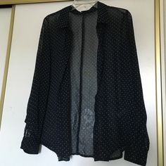 Sheer Dark Blue Polka Dot Blouse Sheer blouse. Dark blue with green polka dots. Size medium. Long sleeves. Great for spring time. Forever 21 Tops Blouses