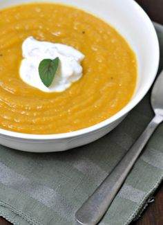 butternut squash soup with minted sour cream garnish  #soup #butternutsquash #autumn #fall #recipes #squash