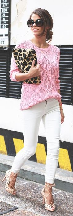 #street #fashion pink knit + leopard clutch purse @wachabuy