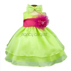 Lime Organza Layered Baby Dress - Available in 10 Different Colors!