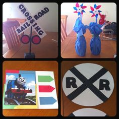 DIY decorations for my son's first birthday; railroad signs, table decorations, sign