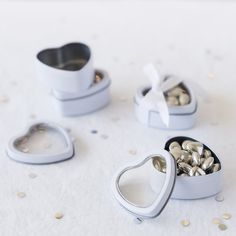 For perfect packaging to display small treats and goodies, these heart shaped favor tins are it.  Fill them  with your favorite candy for an Ideal wedding favor, bridal shower favor or baby shower favor.  Wonderfully versatile for any occasion.