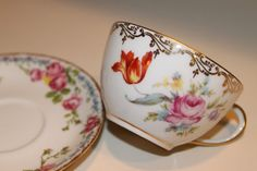 Vintage Mixed Matched Tea Cup and Saucer by CELESTESCHALL on Etsy, $29.00
