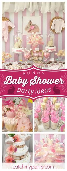 Take a look at this wonderful bunny Baby Shower! The dessert table is so pretty. Love the backdrop!  See more party ideas and share yours at CatchMyParty.com #babyshower #bunnies #rabbit