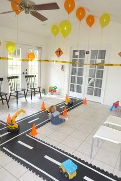 road for construction dump truck party... this would be great to make from the kitchen into the living room, to the front door!