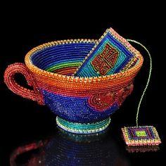beaded tea cup and tea bag by Kathy Wegman
