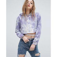 ASOS Cropped Hoodie In Tie Dye ($30) ❤ liked on Polyvore featuring tops, hoodies, purple, hooded sweatshirt, sweatshirt hoodies, cropped hooded sweatshirt, cotton hoodie and cotton hoodies