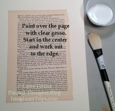 A tutorial for painting watercolor on book pages and info about the author of the book used and the copyrights.