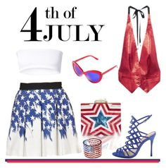 """Red, White and Blue Fashion Statement"" by emavera ❤ liked on Polyvore featuring DuÅ¡an, AINEA and Schutz"