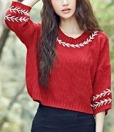 Ethnic Style Jewel Neck 3/4 Sleeve Manual Embroidered Sweater For Women
