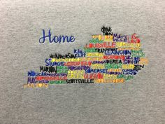Kentucky Cities Shirt- Kentucky Sweatshirt- Kentucky Hoodie- Bluegrass State- Kentucky Word Art Shirt-Home Sweet Home- Custom Embroidery- by ShesSewVain on Etsy