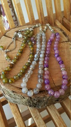 33 Beads Islamic Tasbih, Tesbih, Islamic Worrybeads, Prayer Beads, Greenish Agate Beads, Gift for Him, Crocodile Eye
