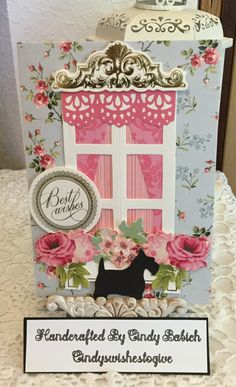Best Wishes Card / Made with Anna Griffin Window Ledge Card Making Kit / Handcrafted By Cindy Babich (cindyswishestogive 2017)