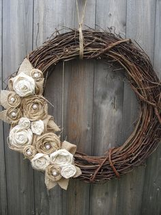 Burlap rosettes and pearl wreath