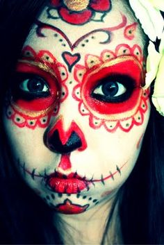 sugar skull ideas for steph Candy Skull Makeup, Halloween Makeup Sugar Skull, Halloween Horror, Halloween Make Up, Halloween Costumes, Halloween Ideas, Women Halloween, Sugar Skull Art, Sugar Skulls